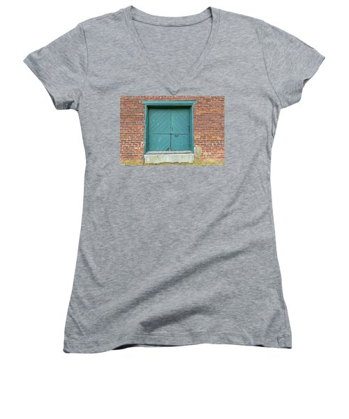 Old Warehouse Loading Door And Brick Wall Women's V-Neck