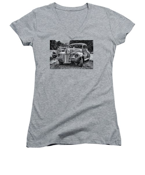 Old Warrior - 1940 Ford Race Car Women's V-Neck T-Shirt (Junior Cut) by Ken Morris
