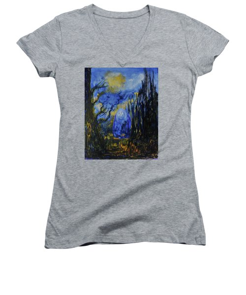 Women's V-Neck T-Shirt (Junior Cut) featuring the painting Old Ways by Christophe Ennis