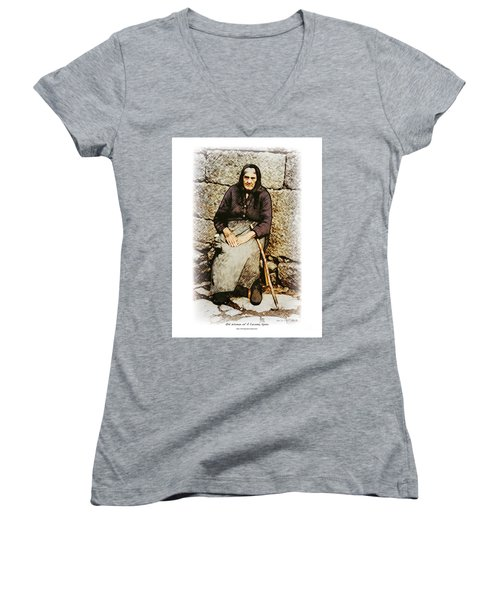 Old Woman Of Spain Women's V-Neck T-Shirt (Junior Cut) by Kenneth De Tore