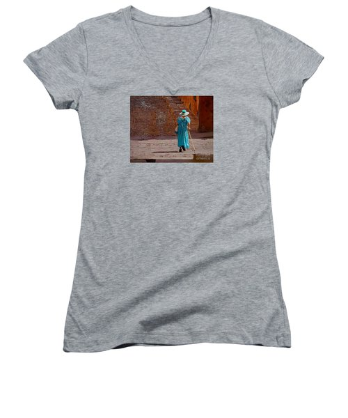 A Woman Walking Home Women's V-Neck T-Shirt