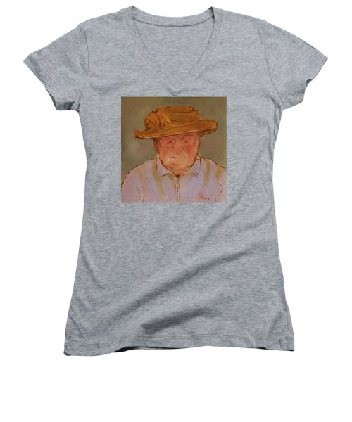 Old Woman With Yellow Hat Women's V-Neck