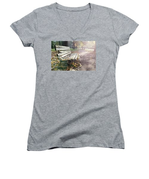 Rustic Wooden Bench During Late Autumn Season On Bright Day Women's V-Neck