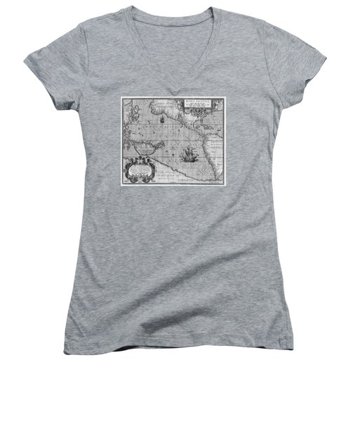 Old World Map Print From 1589 - Black And White Women's V-Neck