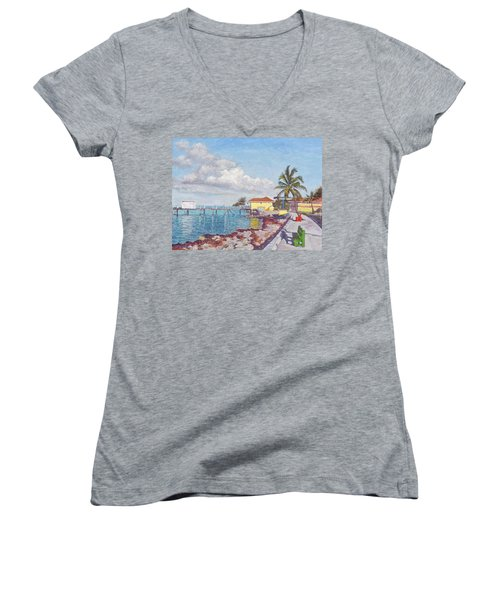 Old Yellow Gas Station By The Waterfront - Cooper's Town Women's V-Neck