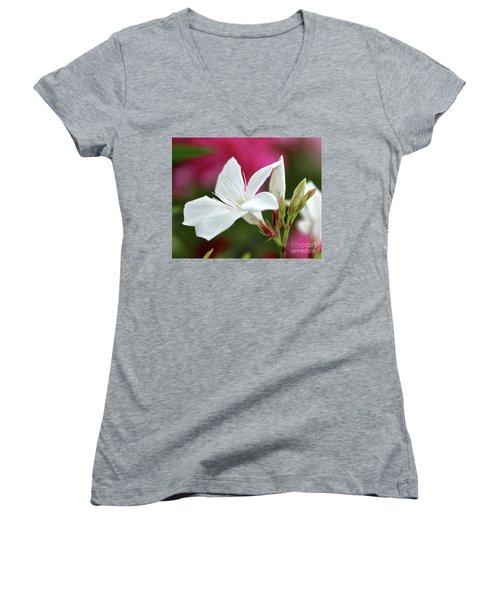 Oleander Casablanca 2 Women's V-Neck T-Shirt (Junior Cut) by Wilhelm Hufnagl