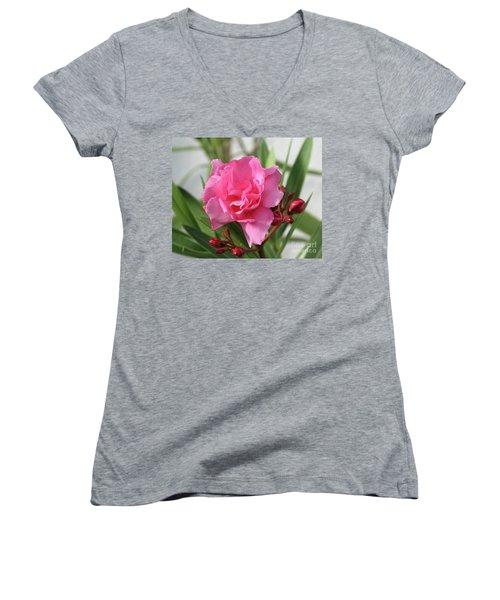 Oleander Splendens Giganteum 1 Women's V-Neck T-Shirt (Junior Cut) by Wilhelm Hufnagl