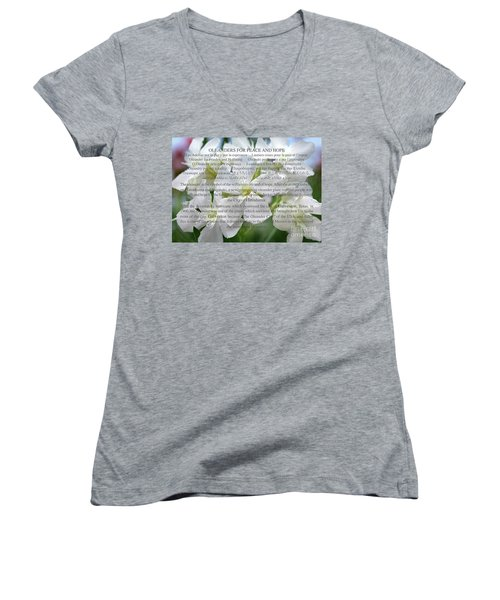 Oleanders For Peace And Hope Women's V-Neck T-Shirt (Junior Cut) by Wilhelm Hufnagl