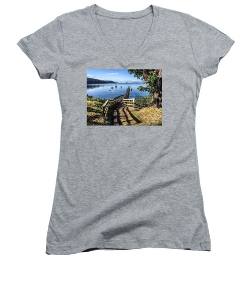 Women's V-Neck T-Shirt (Junior Cut) featuring the photograph Olga Pier by William Wyckoff
