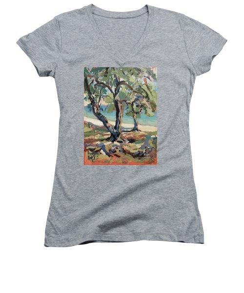 Olive Trees Along Marmari Beach Paxos Women's V-Neck