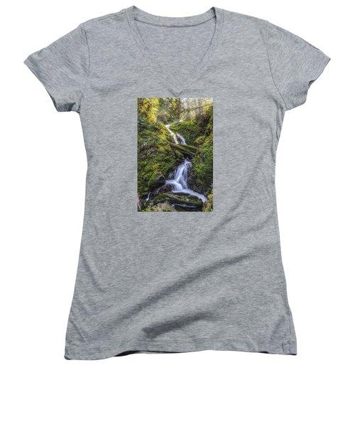 Olympic Gold Women's V-Neck T-Shirt (Junior Cut) by James Heckt