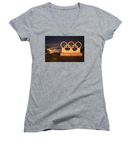 Olympic Rings Portland  Women's V-Neck T-Shirt
