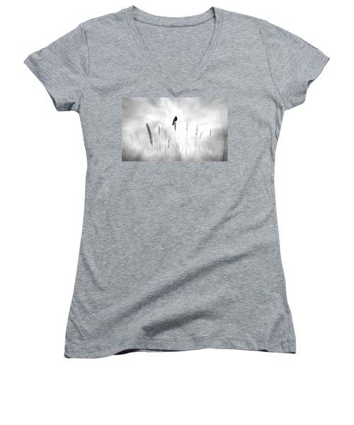 Women's V-Neck T-Shirt (Junior Cut) featuring the photograph Omen by John Poon
