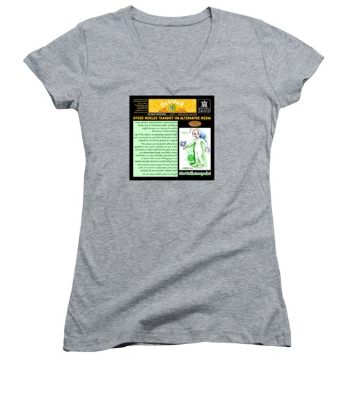 Omniscire Other Worlds Correspondent Women's V-Neck T-Shirt (Junior Cut) by Dawn Sperry