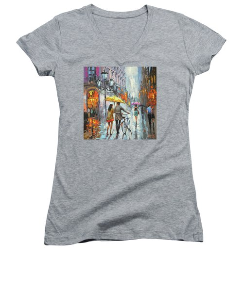 On A Cloudy Day  Women's V-Neck (Athletic Fit)