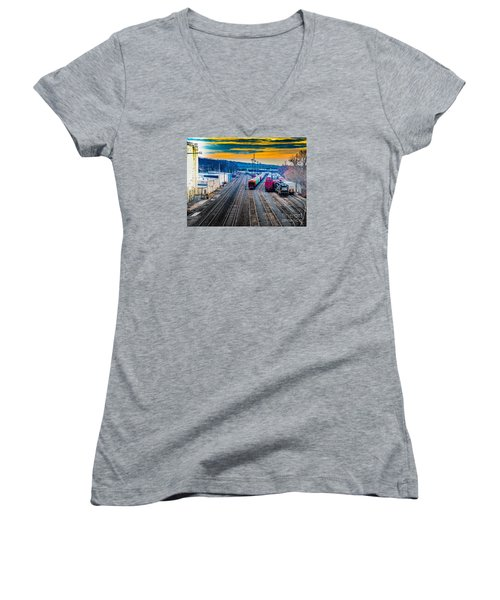 On A Suffern Railroad Track Women's V-Neck T-Shirt