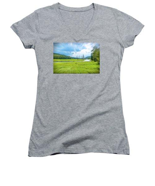 On Approach Women's V-Neck T-Shirt (Junior Cut) by Mark Dunton