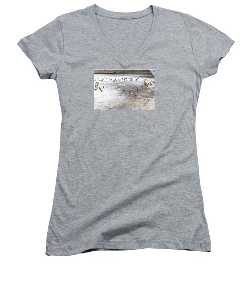 On Ice  Women's V-Neck T-Shirt (Junior Cut) by Leif Sohlman
