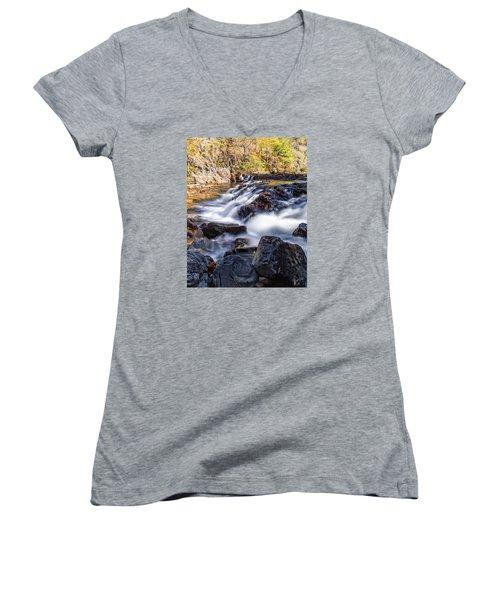 On Jennings Creek Women's V-Neck T-Shirt (Junior Cut) by Alan Raasch