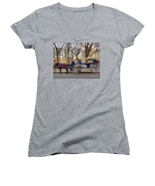 On My Bucket List Central Park Carriage Ride Women's V-Neck (Athletic Fit)