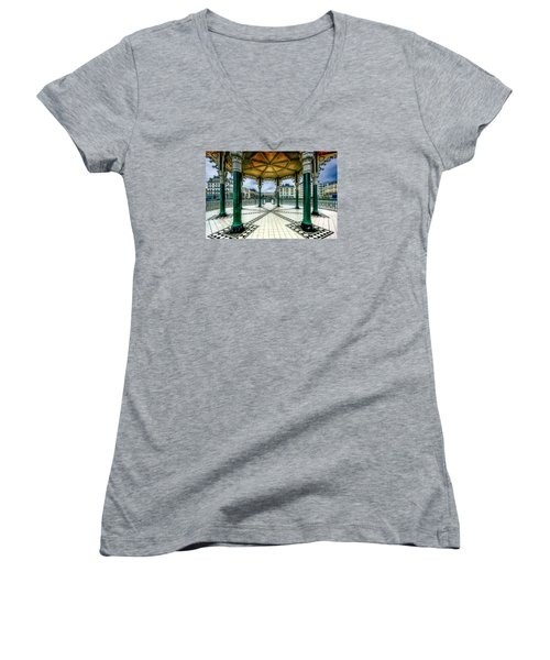 Women's V-Neck T-Shirt (Junior Cut) featuring the photograph On The Bandstand by Chris Lord
