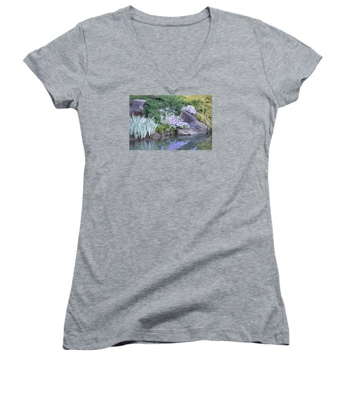 Women's V-Neck T-Shirt (Junior Cut) featuring the photograph On The Banks Of The Pool by Linda Geiger