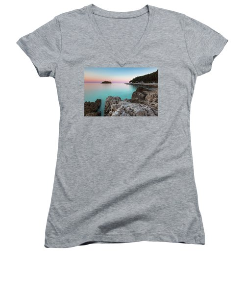 On The Beach In Dawn Women's V-Neck