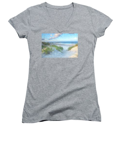 On The Beach Watercolor Women's V-Neck T-Shirt (Junior Cut) by Randy Steele