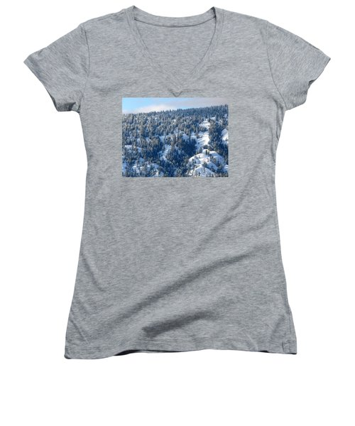 Women's V-Neck T-Shirt (Junior Cut) featuring the photograph On The Far Side by Will Borden