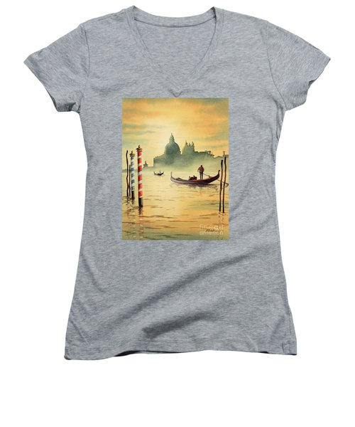 On The Grand Canal Venice Italy Women's V-Neck T-Shirt (Junior Cut) by Bill Holkham