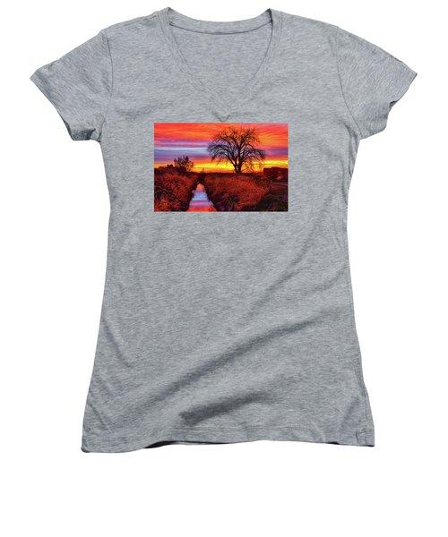 On The Horizon Women's V-Neck T-Shirt (Junior Cut) by Greg Norrell