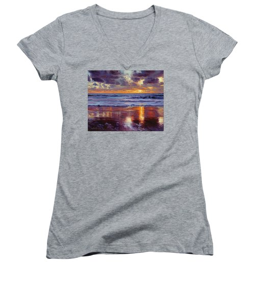 Women's V-Neck featuring the painting On The Horizon by Steve Henderson