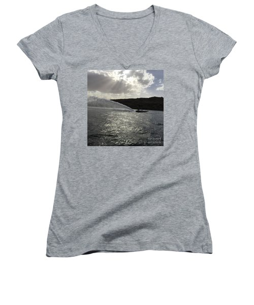 On The Lake Women's V-Neck T-Shirt (Junior Cut) by Renie Rutten