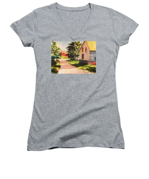 Women's V-Neck T-Shirt (Junior Cut) featuring the painting On The Line by John Williams