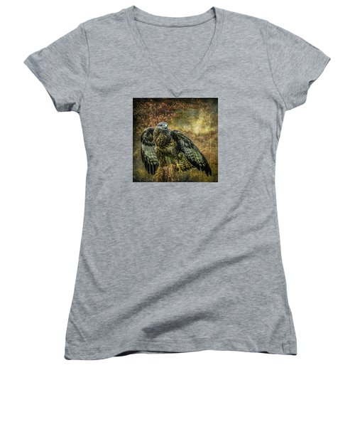 Women's V-Neck T-Shirt (Junior Cut) featuring the photograph On The Lookout by Brian Tarr