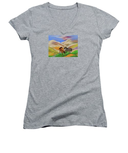 On The Mountian Women's V-Neck (Athletic Fit)