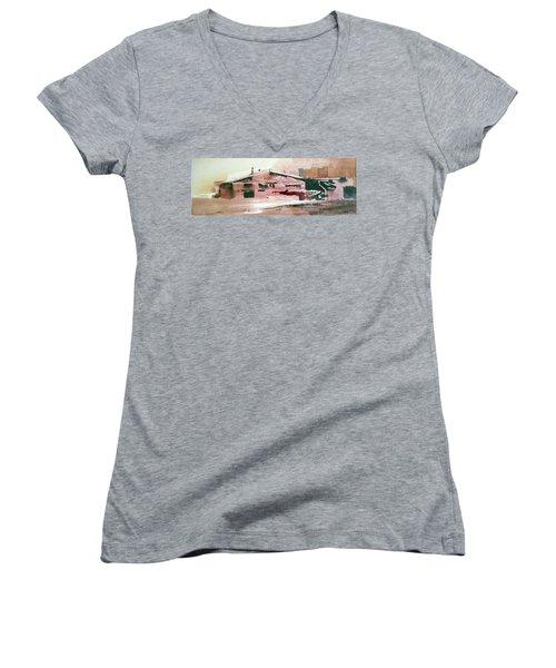 On The Ranch Women's V-Neck T-Shirt (Junior Cut) by Ed Heaton
