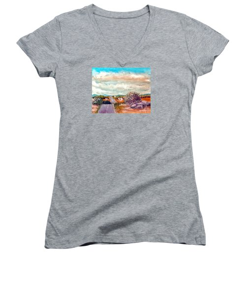 Women's V-Neck T-Shirt (Junior Cut) featuring the painting On The Road Again by Jim Phillips