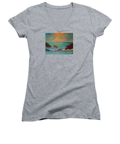 On The Rocks Women's V-Neck T-Shirt (Junior Cut) by Holly Martinson
