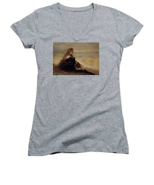 On The Seashore Women's V-Neck T-Shirt (Junior Cut) by George Elgar Hicks