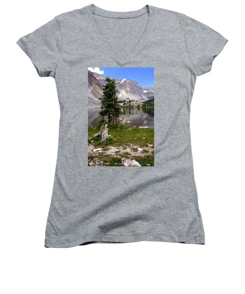 On The Snowy Mountain Loop Women's V-Neck T-Shirt