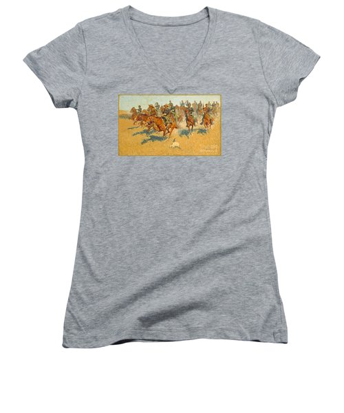Women's V-Neck T-Shirt (Junior Cut) featuring the photograph On The Southern Plains Frederic Remington by John Stephens