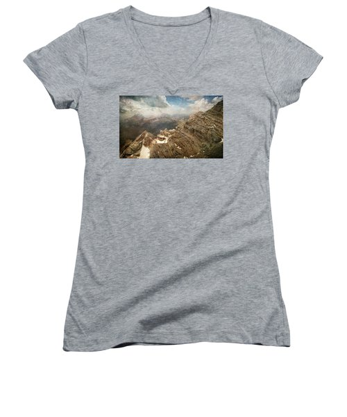 On The Top Of The Mountain  Women's V-Neck