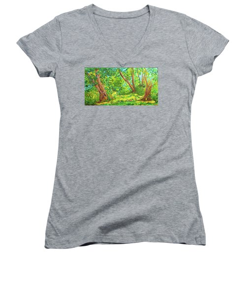Women's V-Neck T-Shirt (Junior Cut) featuring the painting On The Path by Susan D Moody