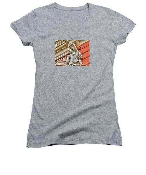 On The Wall Sit Women's V-Neck T-Shirt (Junior Cut) by Yury Bashkin