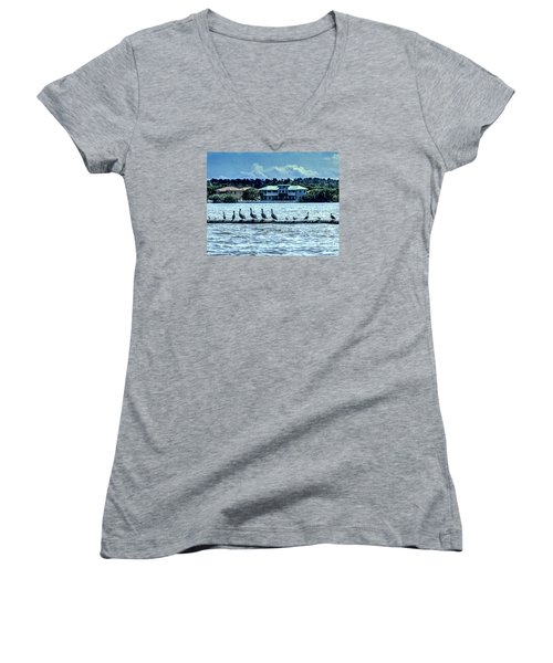 On The Water Women's V-Neck T-Shirt (Junior Cut) by Ken Frischkorn