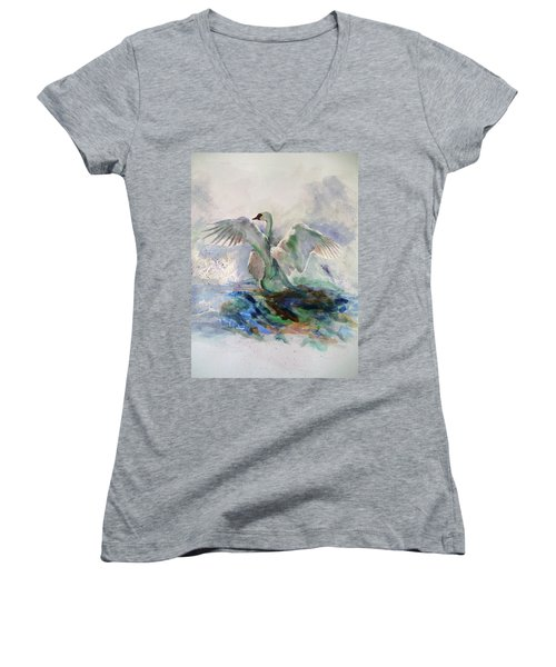 On The Water Women's V-Neck T-Shirt (Junior Cut) by Khalid Saeed