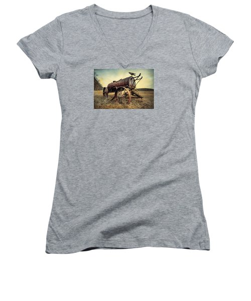 Women's V-Neck T-Shirt (Junior Cut) featuring the photograph On The Water Wagon - Agricultural Relic by Gary Heller