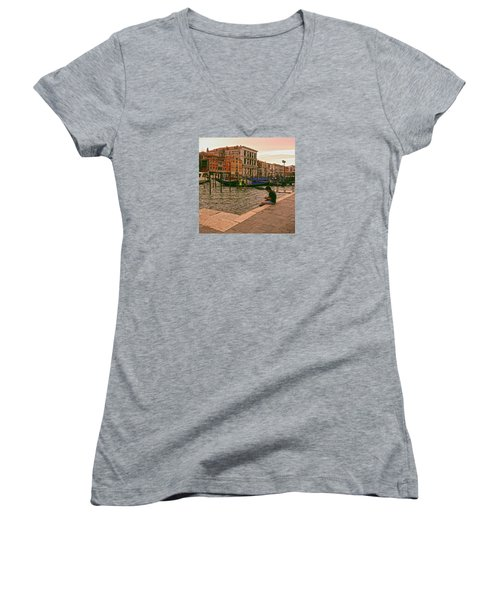 Women's V-Neck T-Shirt featuring the photograph On The Waterfront by Anne Kotan