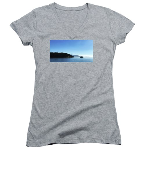 Women's V-Neck featuring the photograph On The Way To Orcas by Lorraine Devon Wilke